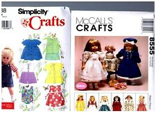 """McCalls & Simplicity PATTERNS 7688 & 8555 Doll Clothes Fits 18"""" American Girl"""