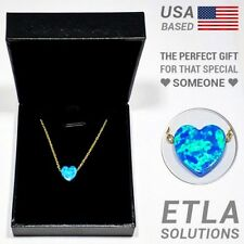 """14k Gold Filled / Opal Heart Pendant w/ 18"""" Sterling Silver Valentine's Gift"""
