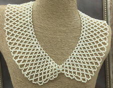 Woven Collar Bib Choker Goldtone Vintage Style Necklace Faux Pearl