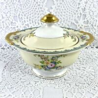 Meito China Japan Pedestal Sugar Bowl w Lid Hand Painted Floral Gold Trim