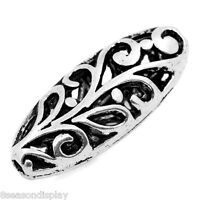 """20PCs Spacer Beads Flower Carved Hollow Oval Silver Tone 23x10mm(7/8""""x3/8"""")"""