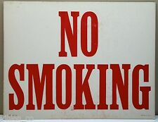 "RETRO ""NO SMOKING"" SCREEN PRINTED SIGN / POSTER ~ Red on White Board VINTAGE"