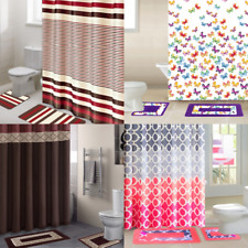 All Seasons 15Pc Bathroom Set Shower Curtain Fabric Hooks Bath Mats Rugs New