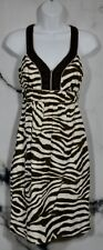 BANANA REPUBLIC Brown Cream Animal Print Linen Sleeveless Dress 0P Petite