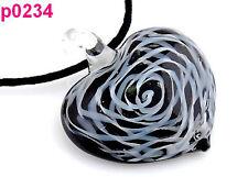 1pc art Heart Lampwork Glass Pendant Necklace p0234