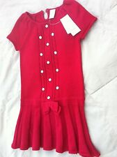 HOLIDAY PARTY GIRLS RED DRESS CABLE KNIT SIZE 6 W/ GEM BUTTON NWT GYMBOREE