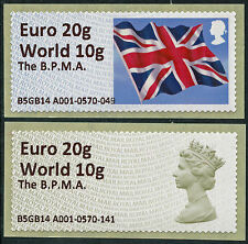 BPMA NO POSTAGE DUE MACHIN & FLAG WW to 10G/EUR TO 20g VAL MAY B5GB14 POST & GO