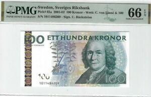 2001 -02 SWEDEN 100 Kronor PMG66 EPQ GEM UNC [P-65a]