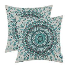 2pcs Cushion Covers Pillows Shells Floral Compass Medallion 45 X 45cm Teal Decor