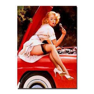 Vintage Gil Elvgren Pinup Girl Art Silk Fabric Poster 13x18inch J915