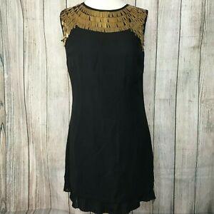 NEW - Stunning Black TED BAKER Gold Metal Tassel Dress Size 2 (10)