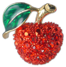 GOLD PLATED CRYSTAL RED APPLE FRUIT BROOCH PIN MADE WITH SWAROVSKI ELEMENTS