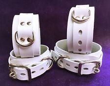 Lockable WHITE ITALIAN LEATHER Adult wrist ankle Restraint Set band cuffs cuff