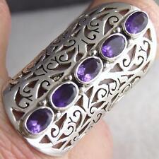 PENTA-GEM Size US 7 (O) Wide SILVERSARI Jali Ring 925 Sterling Silver + AMETHYST