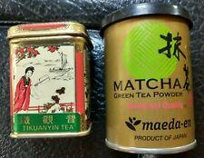 Matcha Green Tea Powder Maedaen & Tikuanyin Loose Leaf Tea Tin Open Containers