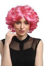 Perruque femmes carnaval cosplay court rose Boucles Volume STAR DE LA POP