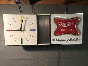 Miller High Life Beer Sign 1957 Wall Clock Light Up Bar Light Shark Fin Man Cave