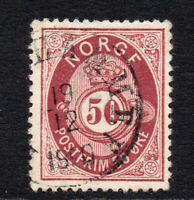 Norway 50 Ore Stamp c1877-78 Used (887)