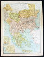 1890 Large Bartholomew Antique Map of Turkey in Europe