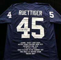 Rudy Ruettiger Signed Autograph Blue Stat Jersey JSA COA Notre Dame Irish Great