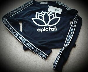 """Black FB Sister """"Epic Fail"""" Sports Crop Top~New With Tags~Size XS~free PP"""
