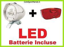 KIT Fanale Luce Anteriore + Fanale Portapacco a LED bici Olanda - Graziella - R