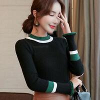 Women Long Sleeve Jumper Basic Knit Shirt Mock Neck Slim Fit Blouse Tops Sweater