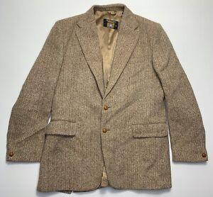 Harris Tweed Mens Brown Herringbone Heavy Wool Blazer Sport Coat 44L
