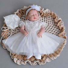 Newborn Baby Christening Gown Infant Lace Baptism Dress with hat/bonnet 2 pcs
