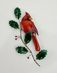 Bovano of Cheshire Wall Sculpture Art RARE Cardinal On Winterberry / Holly Tree