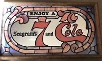 Vintage  Seagrams 7 Coke Coca Cola Wall  Mirror Sign Bar Display Seven Crown