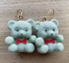 FUN TEDDY BEAR EARRINGS, CUTE NOVELTY COOL BLUE ORIGINAL GIFT ANIMAL PARTY BAG