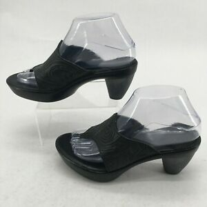 Think! Womens 37 Casual Thong Sandals Cone Heels Comfort Embossed Leather Black