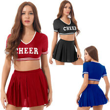 Women Cheerleader Costume Fancy Dress School Uniform Crop Top with Pleated Skirt