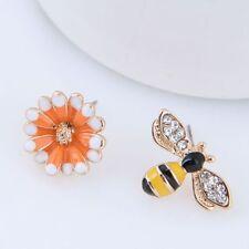 Flower Women Gift Asymmetrical Enamel Stud Earrings Fashion Jewelry Ear Stud