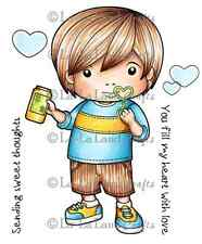 BLOWING BUBBLES LUKA-La-La Land Crafts Cling Mount Rubber Stamp-Stamping Craft