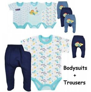 100% Cotton Baby boys 2pc SET Bodysuits + trousers 0-3 months Babygrows Summer