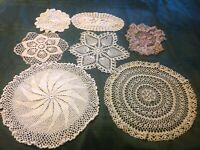 "Vintage Hand Crocheted Doilies Lot of 7  Some with small holes 15"" - 7"""