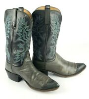Lucchese 1883 Exotic Lizard Toe Inlay Western Cowboy Boots Mens Size 9.5D N1544