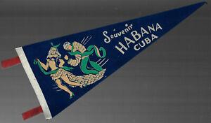 VINTAGE SOUVENIR FELT PENNANT HABANA CUBA Early 1950s HAVANNA  2 Rumba Dancers