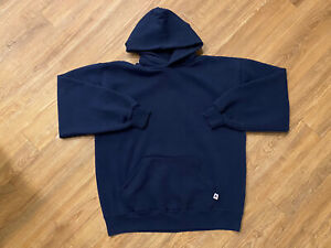 Vintage RUSSELL Athletic Hoodie Blank Navy Blue Pullover Made In USA Size Large
