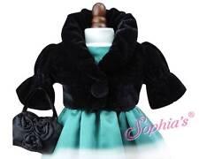 "Black Velvet Cropped Jacket & Satin Purse Dress Coat fit 18"" American Girl Doll"