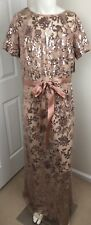 NWT Womens Dress Size 16 Formal Sequin Long Short Sleeve Rose Gold Blush