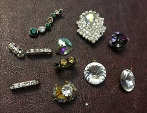 Vintage Assorted Fancy Rhinestone Bead Ball Cluster Spacer Pendant AS IS Lot