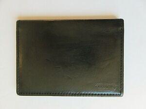 "Vintage Slim Coach ID Card Holding Wallet Black  Leather 3"" x 4.25"""