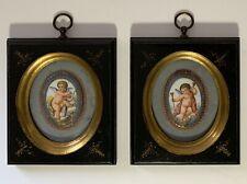 Antique Pair Porcelain Plaques Cherubs Putti Musical Instruments Hand Painted