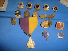 16 Old Vintage Tiny Small sizes Metal  Badges of Lions Club From India 1970 to 1