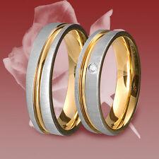 2 Edelstahl Ringe, Freundschaftsring, Verlobungsring, Ehering, Trauring,Zirkonia