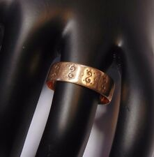 Victorian Antique 10k Rose Gold Etched Wedding Cigar Band Ring Size 9