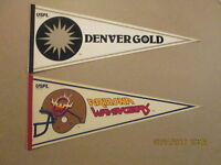 USFL Lot of 2 Wranglers & Gold Vintage Defunct Pennants